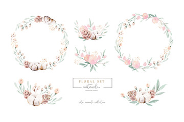 Fototapeta Watercolor floral wreath and bouquet frame illustration with cotton balls peach color, white, pink, vivid flowers, green leaves, for wedding stationary, greetings, wallpapers wrapping, DIY. obraz