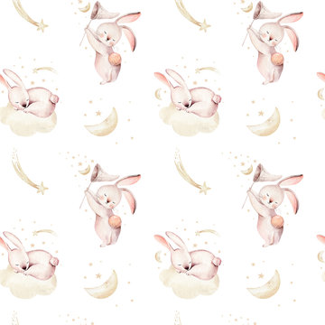 Cute baby rabbit animal seamless dream pattern comet with gold starsin night sky, forest bunny illustration for children clothing. Nursery Wallpaper