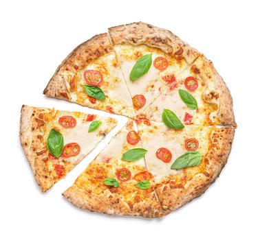 Delicious pizza Margherita on white background