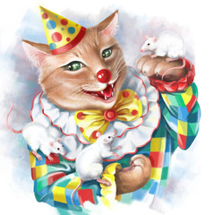 Red cat funny clown performs with white mice. Digital illustration.