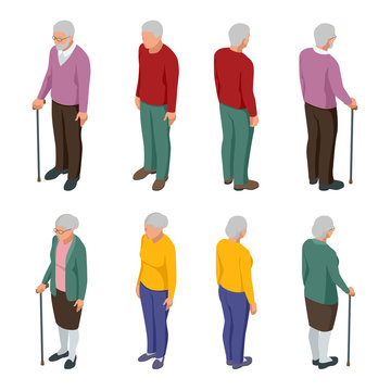 Isometric senior couple. Group of senior people isolated on white. Elderly woman and man. Aged people. Grandparents