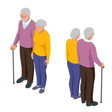 Isometric senior couple. Seniors isolated on white. Elderly woman and man. Aged people. Grandparents