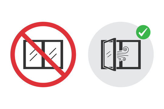 No closed window icon and open window for fresh air