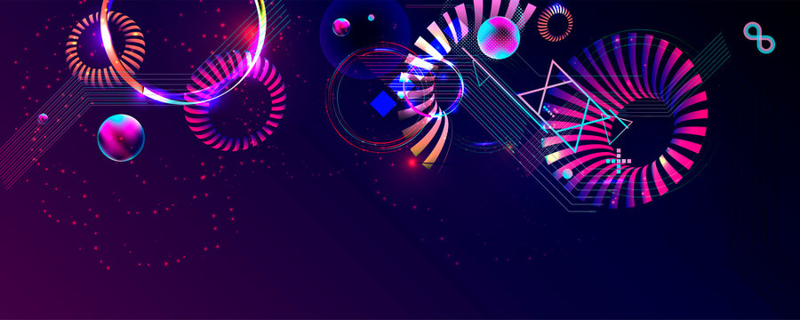 Dark retro futuristic art neon abstraction background cosmos new art 3d starry sky glowing galaxy and planets blue