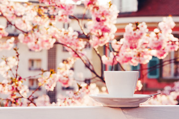 Cup of coffee on the balcony with beautiful view of blooming spring flowers