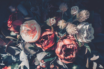 Beautiful Artificial Rose Flowers Background, Vintage style