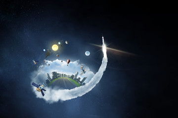 Fototapete - Space exploration concept . Mixed media