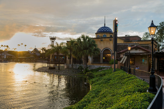 Beautiful view of Epcot during evening in Disney parks in Orlando Florida USA