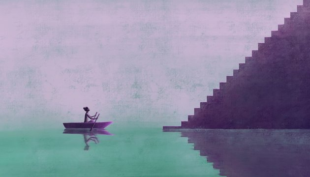Woman on a boat going to the stairs, painting artwork