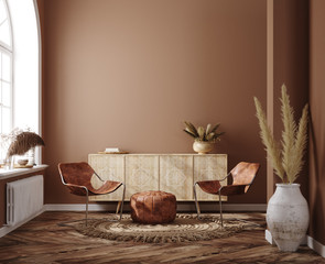 Photo sur Aluminium Style Boho Home interior with ethnic boho decoration, living room in brown warm color, 3d render