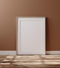 Fototapeta Wooden frame with poster mockup standing on floor, 3d render obraz