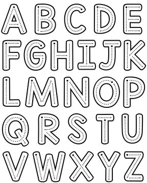 Teacher Font Trace Letter Formation - Uppercase Black and White