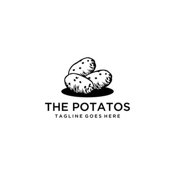 The silhouette potatoes are still fresh as new in the harvest in the fields logo design.