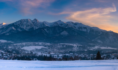 Wall Mural - Winter panorama of the High Tatras and the Zakopane Resort in Poland