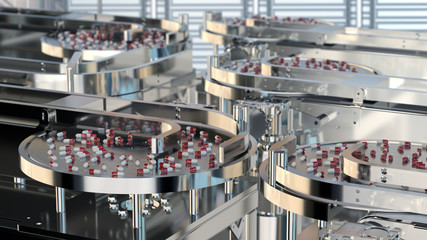 factory of the pharmaceutical industry. pills on the conveyor