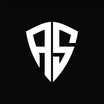 AS logo monogram with shield shape design template