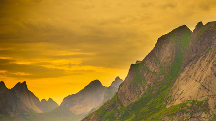 Fotobehang Noord Europa Sunset over mountains, Norway