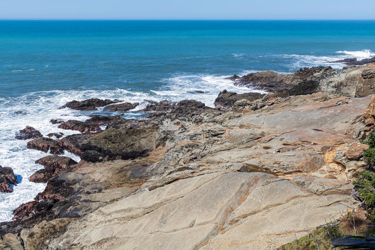 Unusual rock formations along the Pacific coastline at Cape Sebastian in Oregon, USA