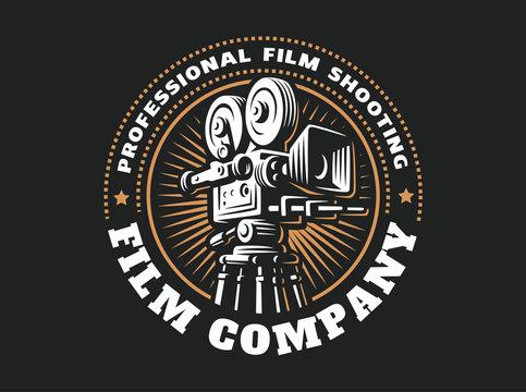 Emblem film cinema camera, vector illustration design