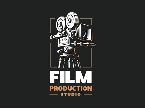 Cinema camera - vector illustrations. Design on black background