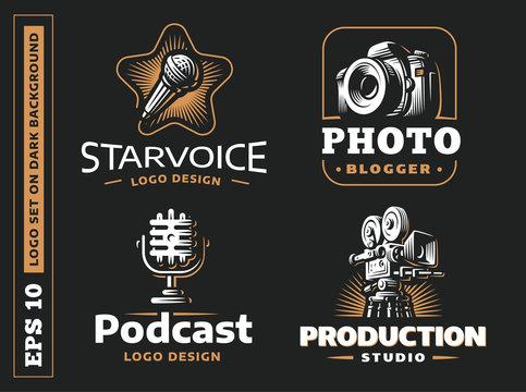 Set photo, vdeo, audio logo - vector illustration, emblem on black background