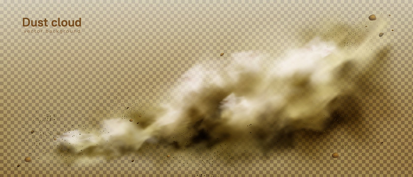 Dust cloud, dirty brown smoke, heavy thick smog with motes sand and soil particles isolated on transparent background. Tunderstorm, air pollution element, Realistic 3d vector illustration, clip art