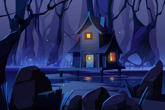 Wooden stilt house on swamp in night forest. Old shack with glow windows stand on piles in deep wood. Witch hut, computer game background, fantasy mystic nature landscape, Cartoon vector illustration