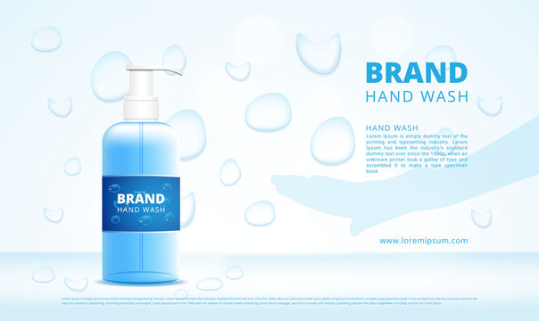 Hand wash gel bottles advertising with dropper and hand silhouette