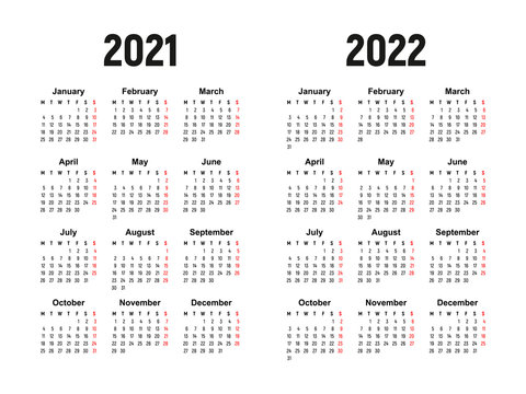 calendar 2021 and 2022, week starts on Monday, basic business template. vector illustration