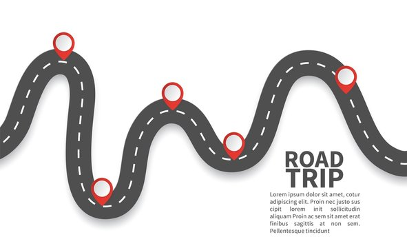 Road with red pins. Navigating, milestone timeline 3d map maps roads vector roadway graphic illustrations graph