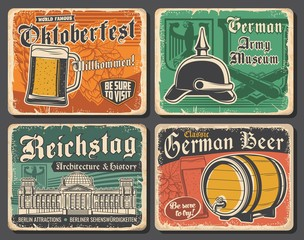 Germany travel landmarks and German Oktoberfest beer vector design. Glass, barrel and tankard of lager or ale alcohol drinks with barley and hops, Reichstag building, heraldic eagle and spiked helmet