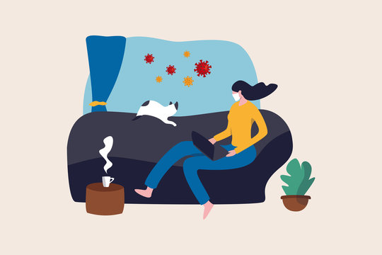 Work from home in COVID-19 virus outbreak, social distancing company allow employee work at home to prevent virus infection, young woman working on sofa with cat look outside to see virus pathogens.