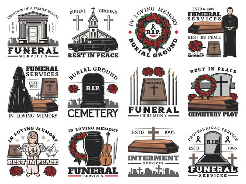 Funeral coffin, cemetery tombstone and cremation urn vector icons of burial and interment service design. Memorial ceremony flower wreaths, Bible and candles, crosses, church and priest, widow, angel