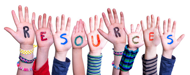 Children Hands Building Colorful Word Resources. White Isolated Background