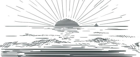 Piekny zachód słońca nad morzem grafika ręczna rysunek wektorowy