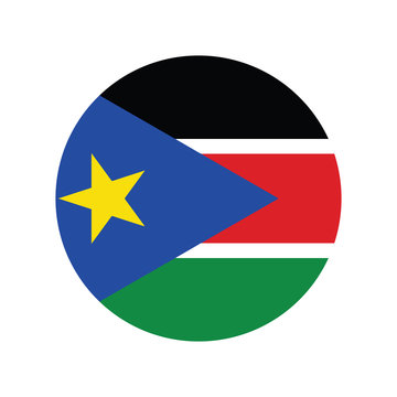 South Sudan flag in round button of icon. flag logo of South Sudan emblem isolated on white background, South Sudan national concept sign, Vector illustration.