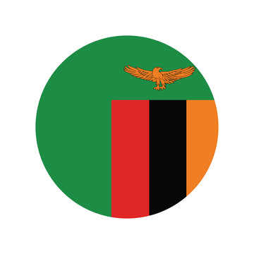 Zambia flag in round button of icon. flag logo of Zambia emblem isolated on white background, Zambia national concept sign, Vector illustration.