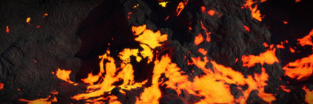 lava field, hot magma flow, molten landscape