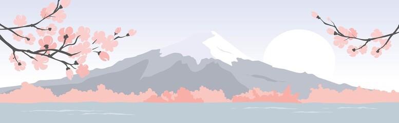 Abstract landscape with mount fuji / Vector illustration, narrow background, blooming sakura, japanese landscape