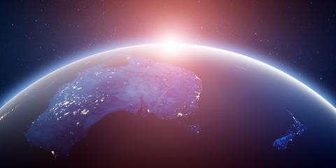 Fototapete - City lights Australia and New Zealand