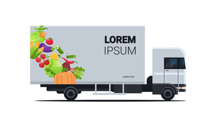 realistic truck trailer with organic vegetables natural vegan farm food delivery service vehicle with fresh veggies horizontal flat vector illustration