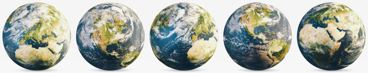 Wall Mural - Planet Earth cloudy globe set