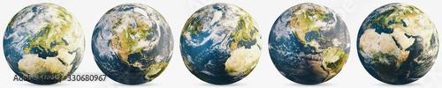 Wall mural Planet Earth cloudy globe set