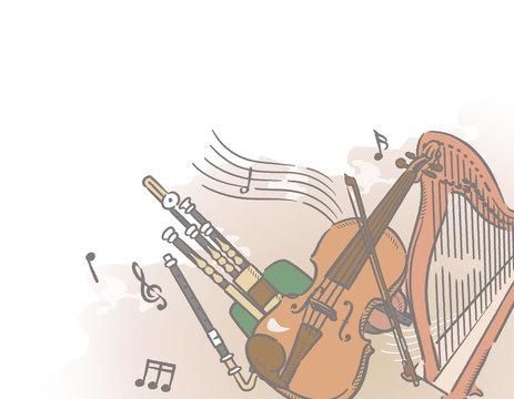 ケルト、アイルランド、楽器がテーマのイラスト背景素材