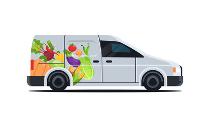 realistic van with organic vegetables natural vegan farm food delivery service vehicle with fresh veggies horizontal flat vector illustration