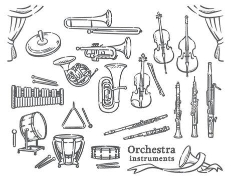 クラシック音楽の楽器イラスト素材セット