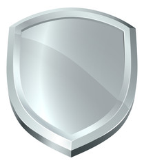 A shield shiny metal silver secure protection or security defence icon