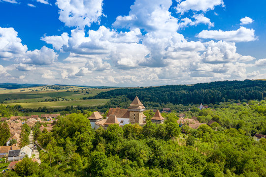 Romania summer landscape at Viscri Fortified Church in  Transylvania