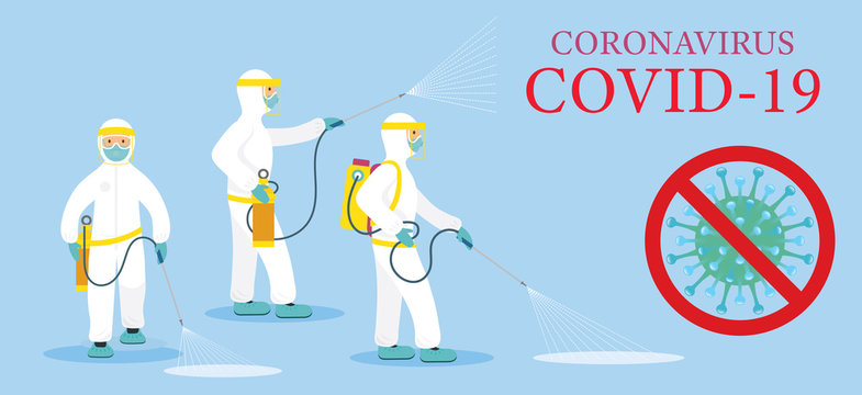 People in Protective Suit or Clothing, Spray to Cleaning and Disinfect Covid-19 or Coronavirus