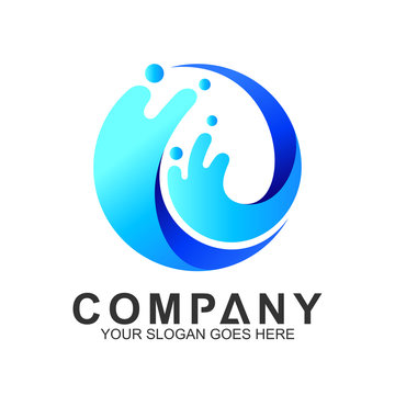 wave logo in circle shape, water splash vector, abstract wave icon